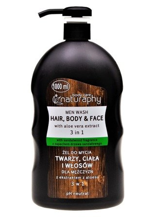 Washing gel for face, body and hair for men with aloe extract 3in1 1L